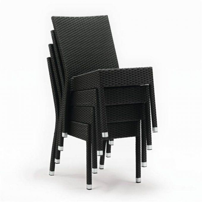 Lot de 4 chaises rotin PE empilables Boléro
